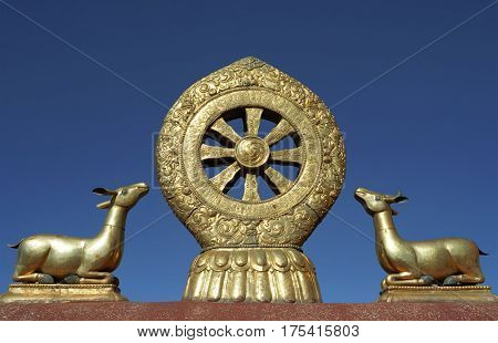 Dharmachakra is main Buddhist symbol on the roof of Jokhang Temple in Lhasa.