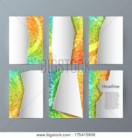 Set Templates Vertical Brochure Mockup Mosaic Glow Effect03