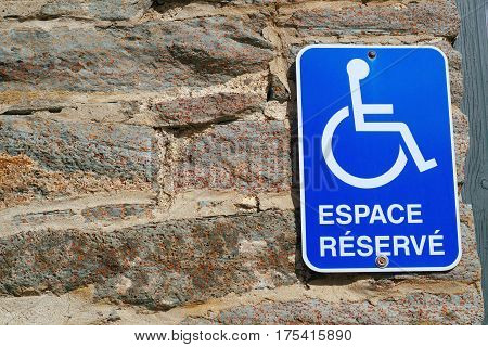 handicap sign parking lot disabled french blue icon panel reserved space