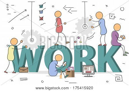 Vector hand drawing men and women at working process with gear wheel, items box, balance, computer. Concept of hard work, efforts, teamwork and start up. Modern thin line art. Letters WORK