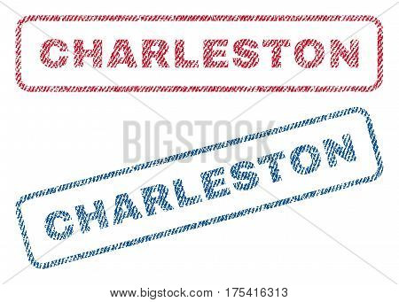Charleston text textile seal stamp watermarks. Blue, red fabric vectorized texture. Vector caption inside rounded rectangular shape. Rubber sign with fiber textile structure.