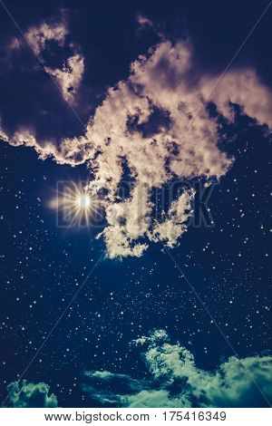 Amazing Dark Night Sky With Many Stars, Bright Full Moon And Cloudy. Cross Process.