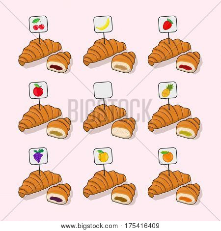 Set croissant and half a croissant with different fillings inside isolated vector on white background. Illustration confection bakery delicious dessert a symbol for your Projects summary.