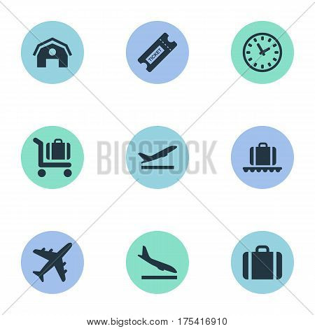 Vector Illustration Set Of Simple Travel Icons. Elements Plane, Baggage Cart, Luggage Carousel And Other Synonyms Coupon, Conveyor And Time.
