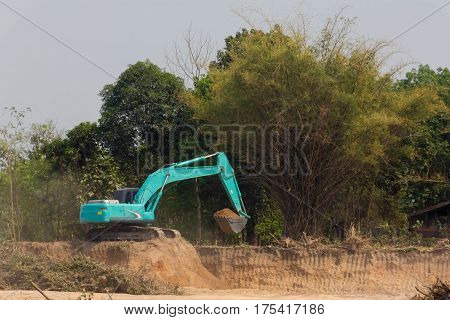 Excavator machine working at construction site п