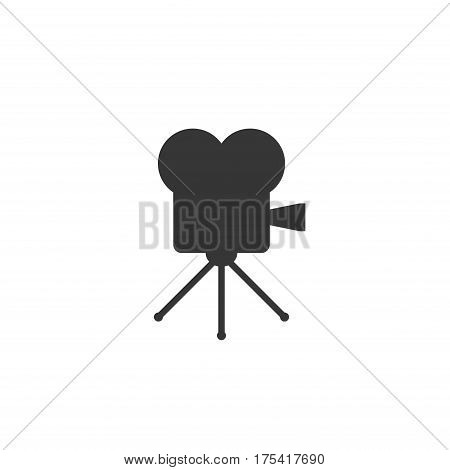 Retro cinema icon isolated on white background. Old movie projector vector illustration