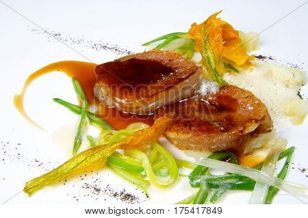 Gourmet veal dish cooked view
