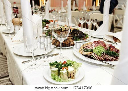 Stylish Fashionable Decorated Table With Glasses And Delicious Food, Celebration Wedding, Catering I