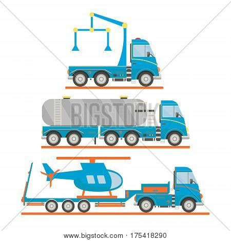 Cartoon transport set. Tow truck, tank car, lorry, helicopter. Vector illustration