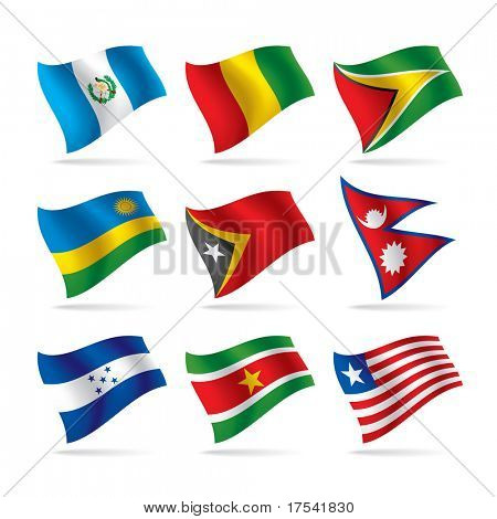 Raster version of vector set of world flags 9 (contain the Clipping Path of all objects)