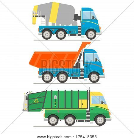 Cartoon transport set. Mixer truck dump truck garbage truck Vector illustration.