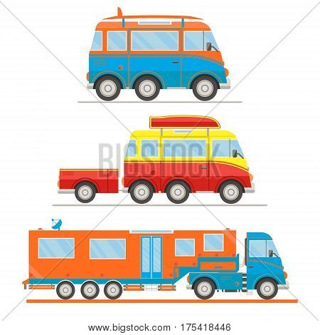 Cartoon transport set. Van with surfboard van with trailer campervan. Vector illustration.