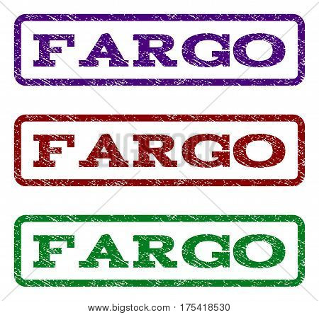 Fargo watermark stamp. Text caption inside rounded rectangle frame with grunge design style. Vector variants are indigo blue, red, green ink colors. Rubber seal stamp with unclean texture.