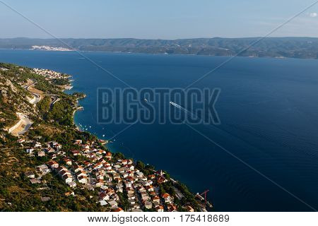 Top view from the fortress Stari Grad near Omis on the town of Nemira in Croatia.