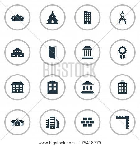Vector Illustration Set Of Simple Architecture Icons. Elements Popish, Reward, Stone And Other Synonyms Downtown, House And Museum.