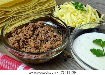 Lasagna pasta minced meat bechamel and cheese