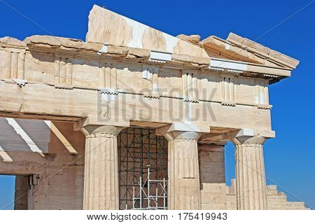 Propylaea is the monumental gateway to the Acropolis the Propylaea was built under the general direction of the Athenian leader Pericles, Athens, Greece