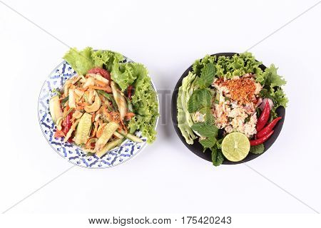 Spicy Salad With Cucumber Served With Spicy Crab Salad.
