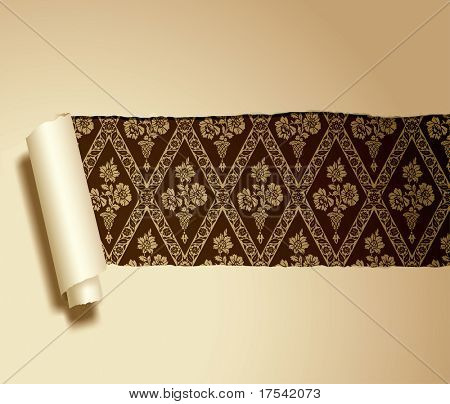 Vector ripped paper with a baroque background