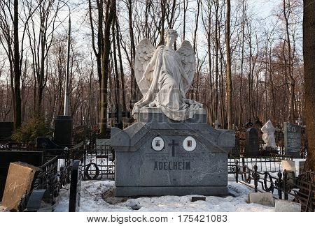 MOSCOW, RUSSIA - MAR 8, 2017: German cemetery(Vvedenskoye cemetery) is a historical cemetery in the Moscow district of Lefortovo. The cemetery was founded in 1771 during the epidemic of plague.