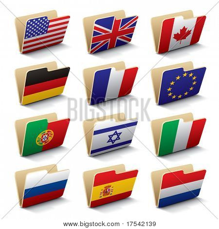 Set 1 of folders icons with world flags. Isolated raster version (contain the Clipping Path of all objects)