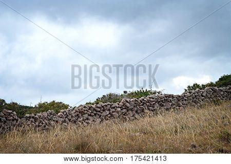 Dry stone wall at Island of Krk Croatia