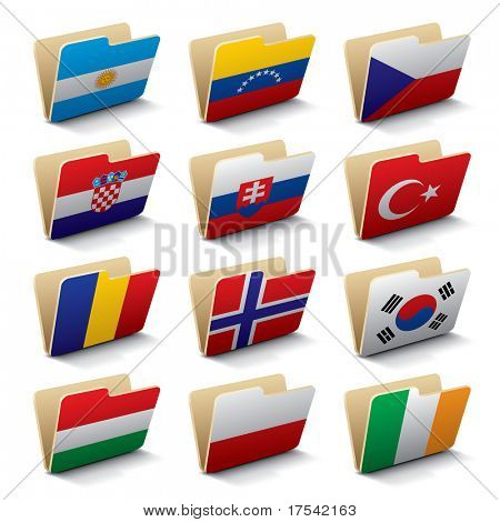 Set 3 of vector folders icons with world flags.  Isolated raster version (contain the Clipping Path of all objects)