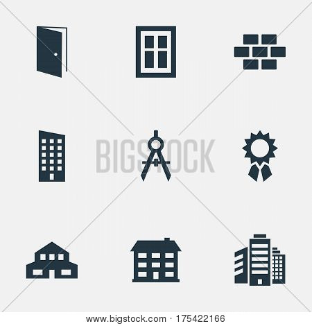 Vector Illustration Set Of Simple Architecture Icons. Elements Stone, Floor, Engineer Tool And Other Synonyms Reward, Medal And House.