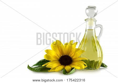 Sunflower oil in a decanter isolated on white background