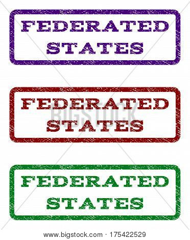 Federated States watermark stamp. Text caption inside rounded rectangle frame with grunge design style. Vector variants are indigo blue, red, green ink colors.