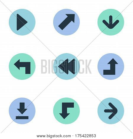Vector Illustration Set Of Simple Indicator Icons. Elements Right Landmark, Let Down, Increasing Synonyms Increasing, Rearward And Down.