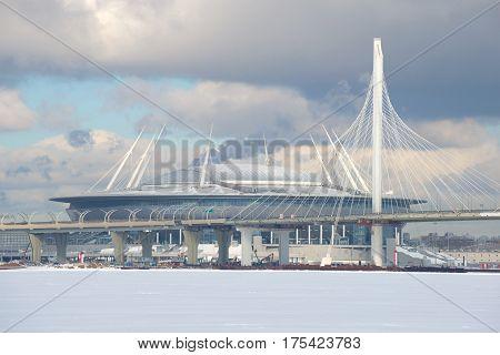 SAINT PETERSBURG, RUSSIA - FEBRUARY 27, 2017: Western high-speed diameter and the football stadium