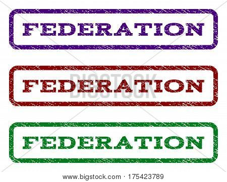 Federation watermark stamp. Text tag inside rounded rectangle frame with grunge design style. Vector variants are indigo blue, red, green ink colors. Rubber seal stamp with dirty texture.