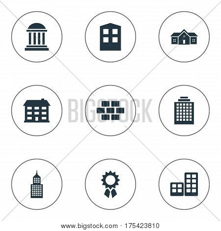 Vector Illustration Set Of Simple Construction Icons. Elements Academy, Construction, Residence And Other Synonyms Flat, Reward And House.