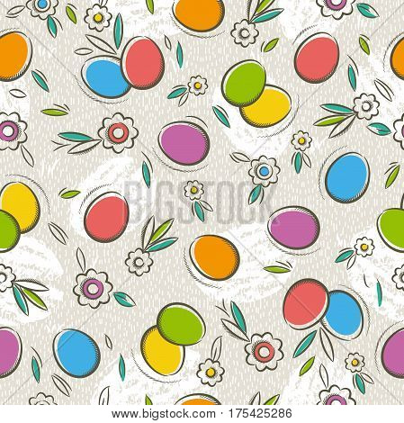 Seamless Patterns with color easter eggs and flower. Ideal for printing onto fabric and paper or scrap booking vector illustration