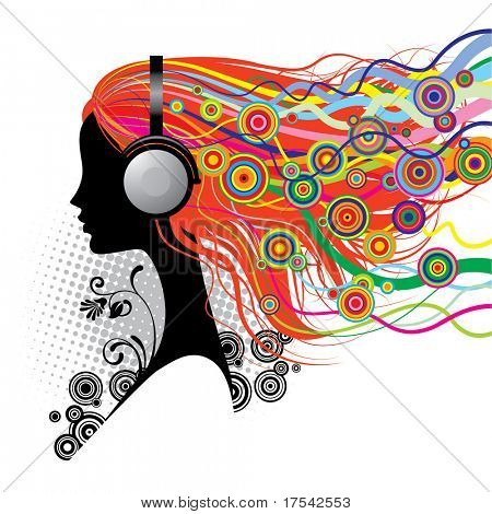 Vector image of a girl with head-phones