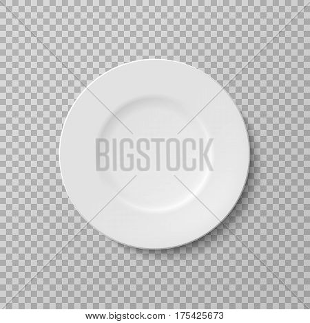 Plate isolated vector object on a transparent background. White kitchen appliances utensils for eating Illustration for your projects.