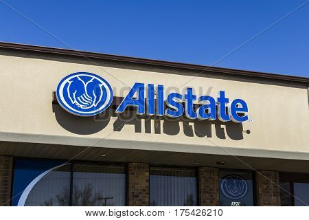 Muncie - Circa March 2017: Allstate Insurance Logo and Signage. The Allstate Corporation is the second largest personal lines insurer in the US II