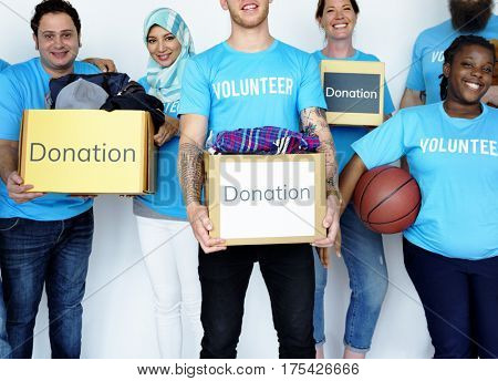 Diversity group of people with donation box with donation project