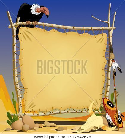 Vector illustration of the animal skin banner with indian objects