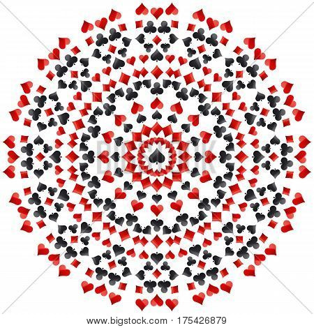 Gambling poker round mandala with red and black symbols vector illustration. Ideal for printing onto fabric and paper or scrap booking.