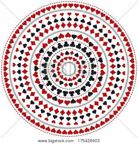Gambling poker round mandala with red and black symbols vector illustration. Ideal for printing onto fabric and paper or scrap booking