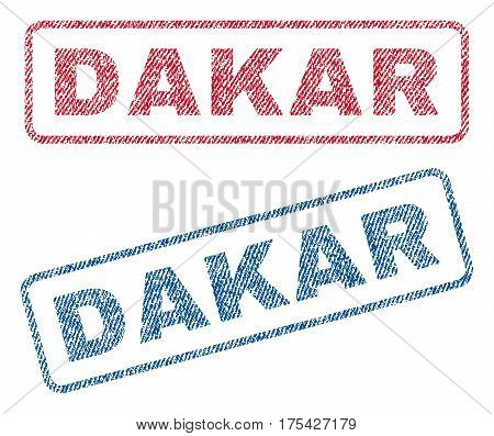 Dakar text textile seal stamp watermarks. Blue, red fabric vectorized texture. Vector tag inside rounded rectangular banner. Rubber emblem with fiber textile structure.