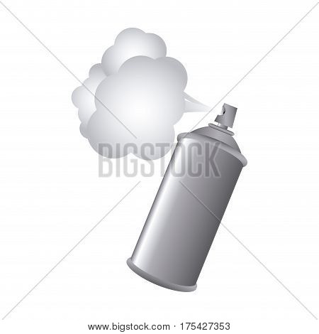 gray aerosol spray metal with smoke paint vector illustration