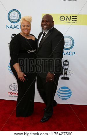 LOS ANGELES - FEB 11:  Tamela Mann, David Mann at the 48th NAACP Image Awards Arrivals at Pasadena Conference Center on February 11, 2017 in Pasadena, CA