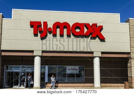 Muncie - Circa March 2017: T.J. Maxx Retail Store Location. T.J Maxx is a discount retail chain featuring stylish brand-name apparel shoes and accessories VI