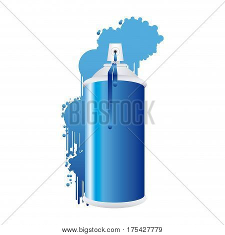 aerosol spray metal with smoke blue paint vector illustration