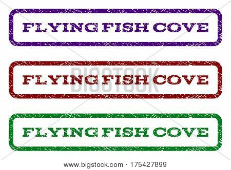 Flying Fish Cove watermark stamp. Text tag inside rounded rectangle frame with grunge design style. Vector variants are indigo blue, red, green ink colors. Rubber seal stamp with scratched texture.