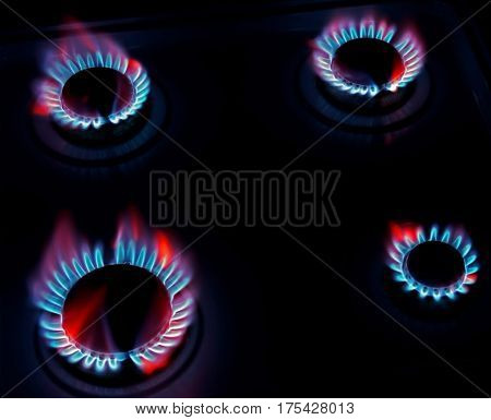 burning on a gas stove in the kitchen