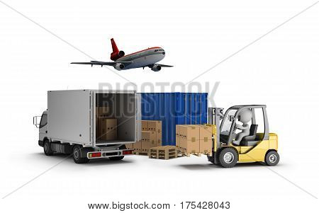 Loader the boxes on a wooden pallet the transport container aircraft car. 3d image. White background.
